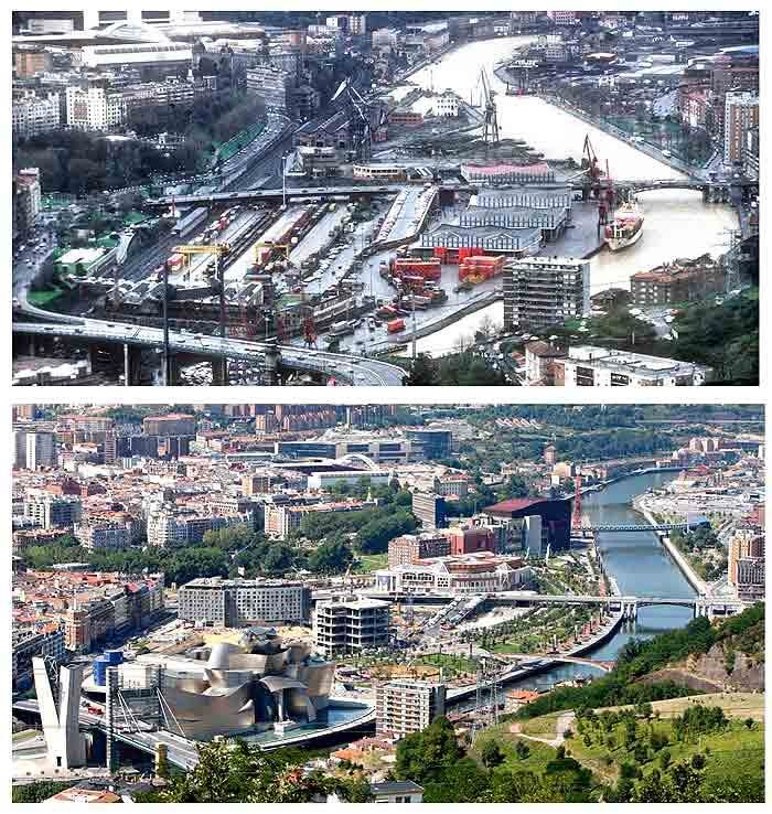 Bilbao before and after the Guggenheim Museum
